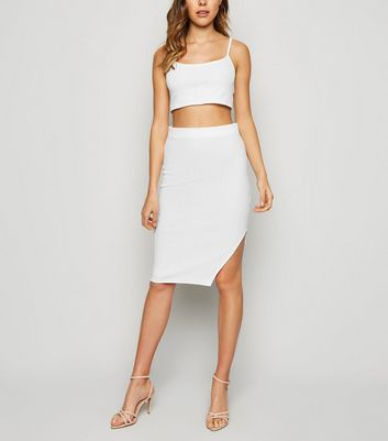 White Ribbed Side Split Midi Skirt