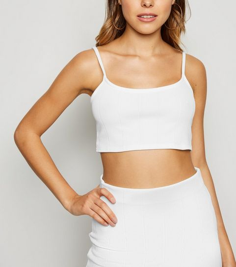 e015b1fd996 ... White Ribbed Strappy Crop Top ...
