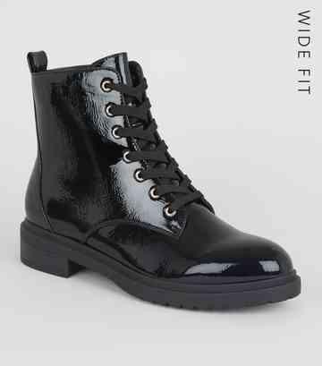 ec899ab121 Wide Fit Black Patent Lace Up Hiker Boots ...