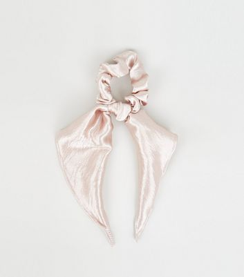 Pale Pink Satin Bow Scrunchie