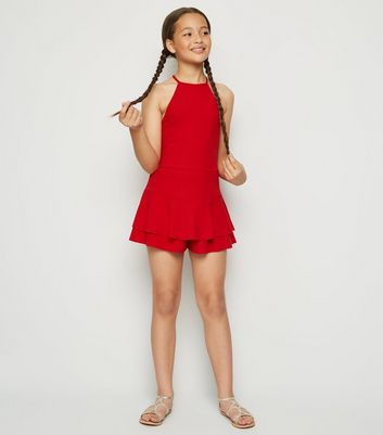 Girls Red High Neck Skort Playsuit