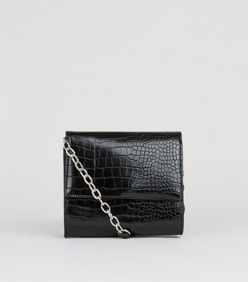 Black Patent Faux Croc Bag