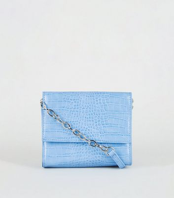 Pale Blue Patent Faux Croc Bag