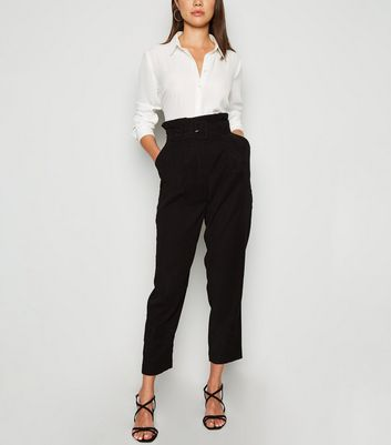 Black Paperbag Utility Trousers