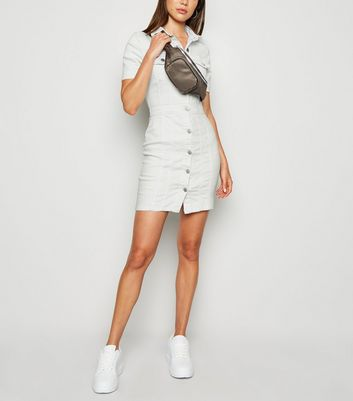 White Button Up Denim Bodycon Dress