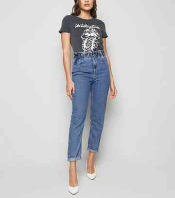 Blue Mid Wash Paperbag Tori Mom Jeans