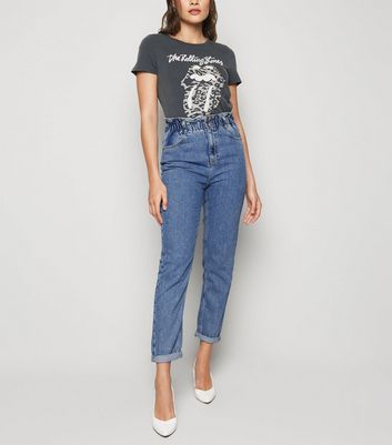 Blue Mid Wash Paperbag Tori Mom Jeans by New Look