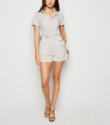 Off White Denim Short Sleeve Utility Playsuit