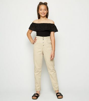 Girls Stone Paperbag Utility Trousers