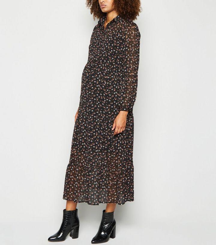 nouvelle arrivee prix officiel belle couleur Maternité - Robe mi-longue froncée en mousseline noire à fleurs Ajouter à  la Wishlist Supprimer de la Wishlist