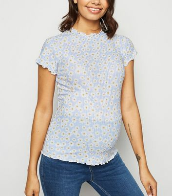 Maternity Blue Daisy Ribbed Frill Trim Top