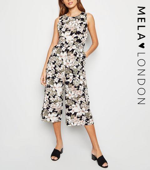 4a85ea3469c ... Mela Black Floral Culotte Jumpsuit ...