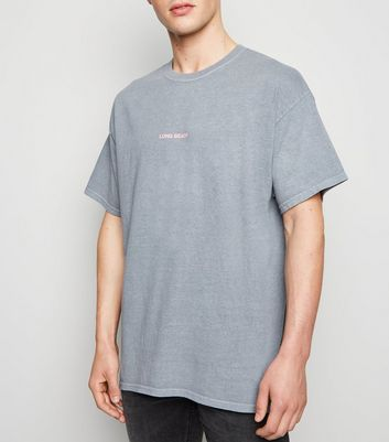 "Graues Oversized-T-Shirt mit ""Long Beach""-Slogan"