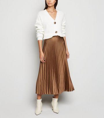 Light Brown Pleated Satin Midi Skirt