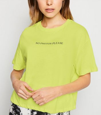 Yellow Neon No Photos Please Slogan T-Shirt
