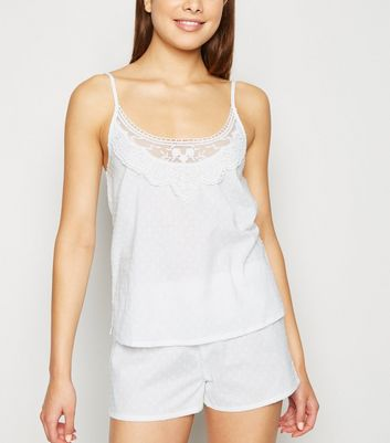 White Dot Embroidered Lace Trim Pyjama Set
