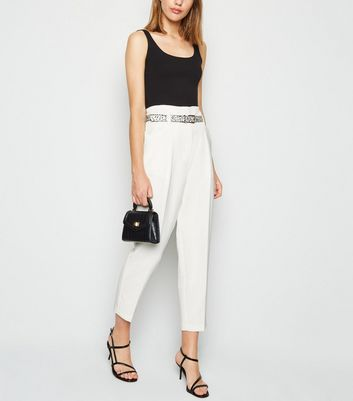 White Animal Print Belted High Waist Trousers