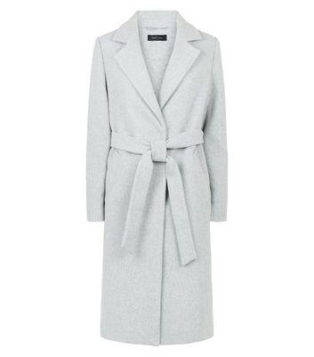 Pale Grey Longline Belted Coat | New Look