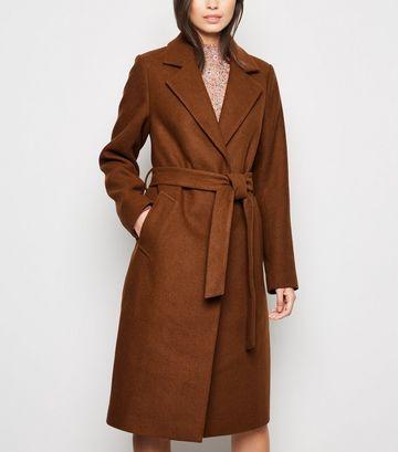 Rust Longline Belted Coat