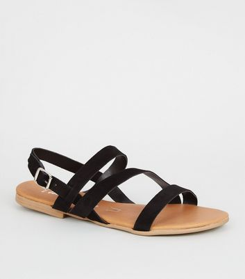Wide Fit Black Suede Strappy Sandals