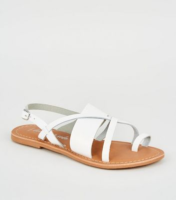 Wide Fit White Leather Strappy Sandals