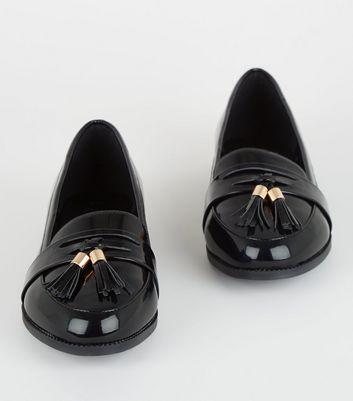 Wide Fit Black Patent Tassel Loafers