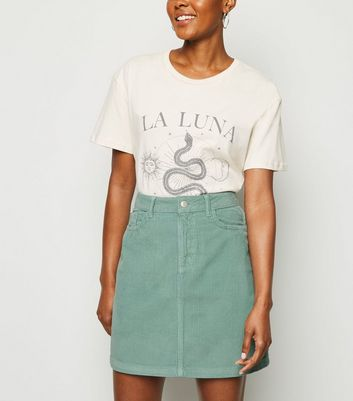 Light Green Pocket Corduroy Mini Skirt
