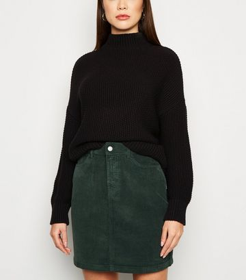 Dark Green 5 Pocket Corduroy Mini Skirt