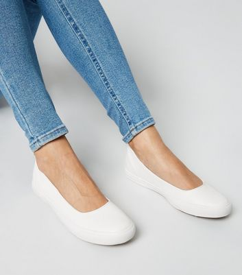 Wide Fit White Slip On Ballet Trainers