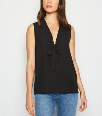 Black Tie Neck Chiffon Top