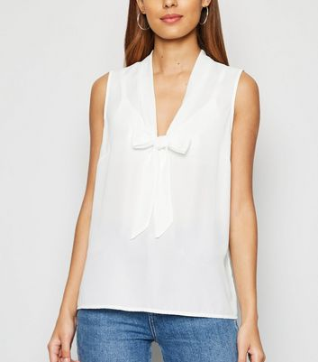 Off White Tie Neck Chiffon Top