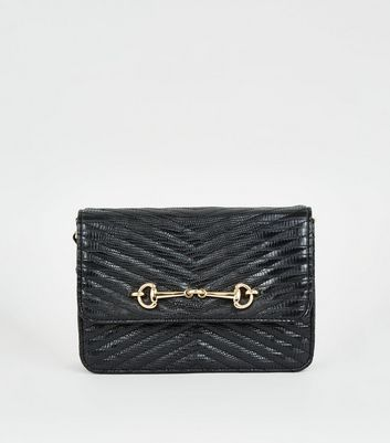Black Leather-Look Quilted Chain Shoulder Bag