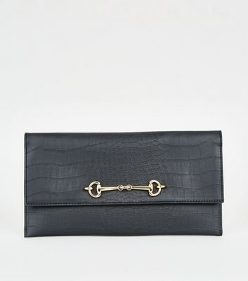 Black Faux Croc Bar Front Clutch Bag