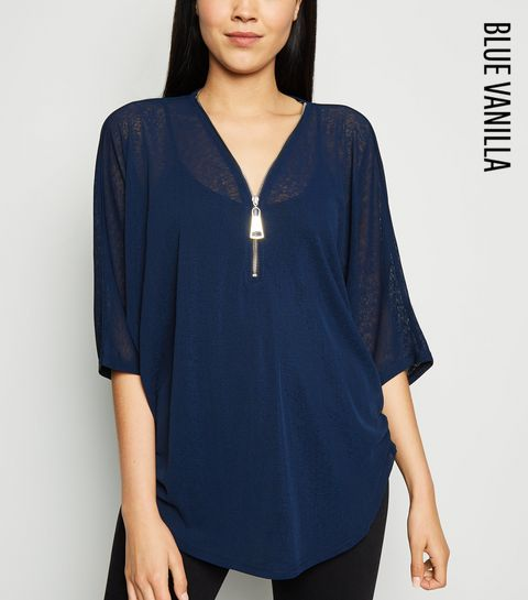 5d9eac160b739a ... Blue Vanilla Navy Angel Wing Sequin Back Top ...