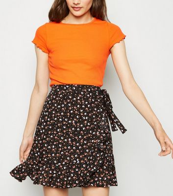 Black Ditsy Floral Ruffle Trim Mini Skirt