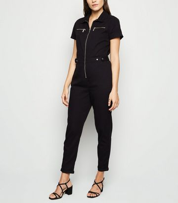 Black Zip Up Denim Utility Boilersuit