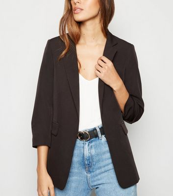 Black Crepe Ruched Sleeve Crop Blazer