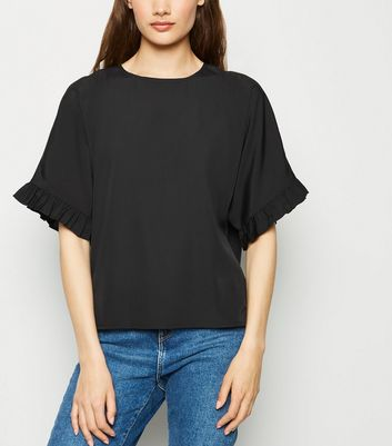 Black Frill Sleeve Boxy T-Shirt