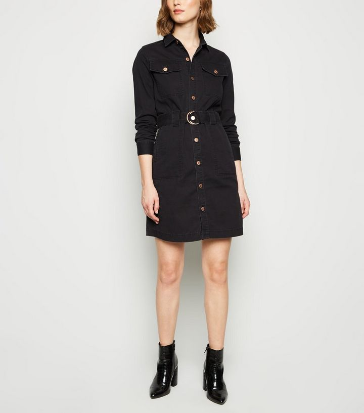 official compare price new high quality Black Denim Tie Waist Shirt Dress Add to Saved Items Remove from Saved Items