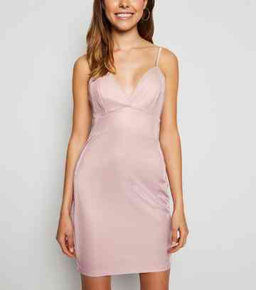 Pink Metallic Plunge Neck Strappy Dress