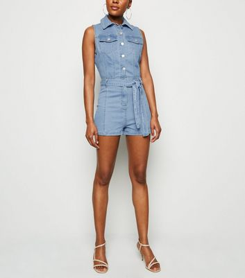 Bright Blue Sleeveless Denim Playsuit