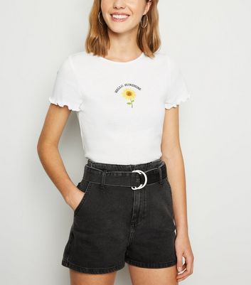 Black D Ring Belted Denim Shorts