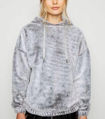 Grey Faux Fur Hoodie