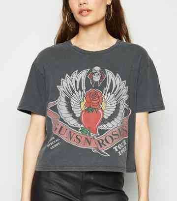 81b290ed Dark Grey Guns N' Roses Boxy Crop T-Shirt ...