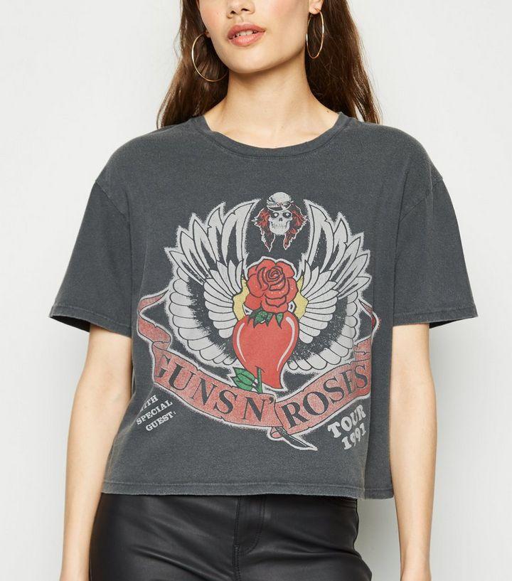 6d8c5ff2d Dark Grey Guns N' Roses Boxy Crop T-Shirt | New Look