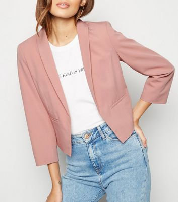 Mid Pink 3/4 Sleeve Crop Blazer by New Look