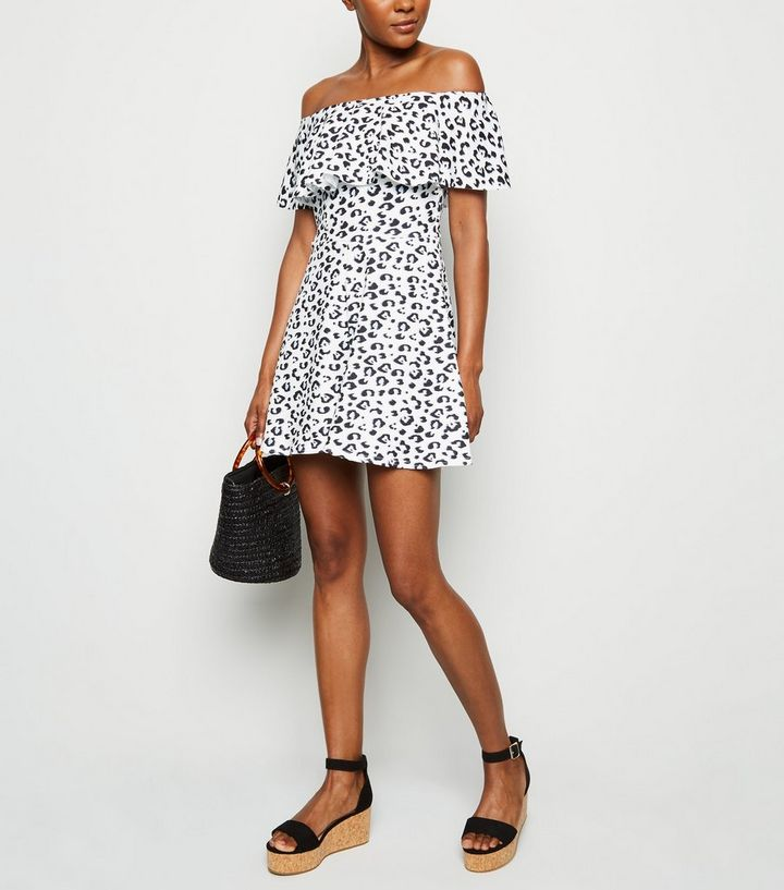 976afb739674 White Leopard Print Ruffle Trim Bardot Playsuit | New Look