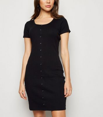 Black Ribbed Button Bodycon Dress
