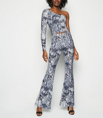 Off White Snake Print Glitter Flared Trousers