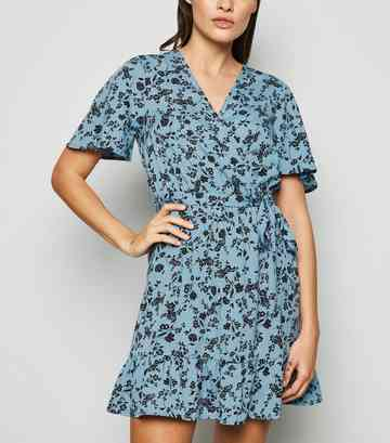 Blue Floral Tie Waist Wrap Dress